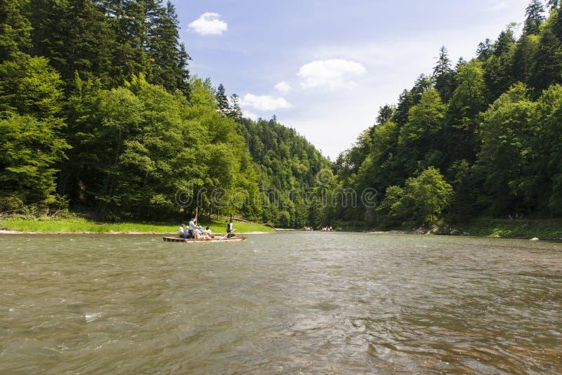 Mountain river. Dunajec River in Pieniny Mountains, at the Polish-Slovakian border royalty free stock image