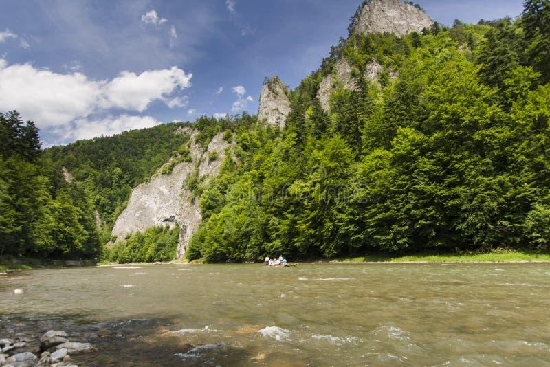 Mountain river. Dunajec River in Pieniny Mountains, at the Polish-Slovakian border stock photography