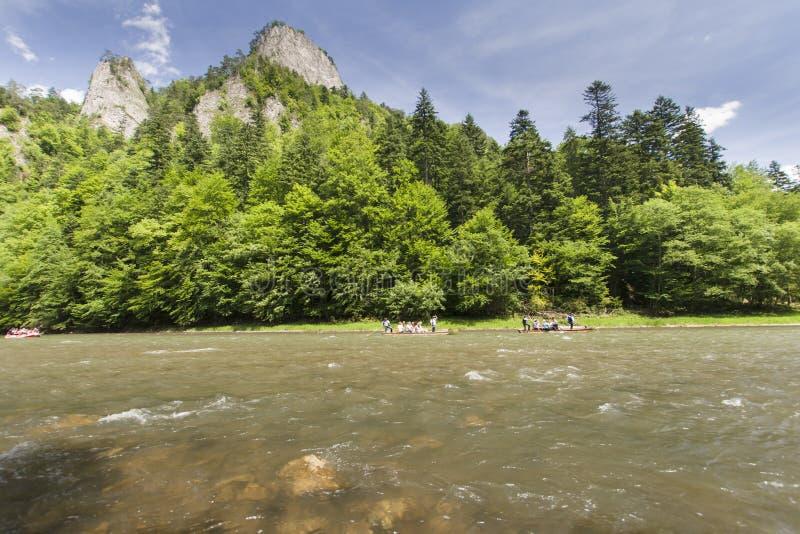 Mountain river. Dunajec River in Pieniny Mountains, at the Polish-Slovakian border stock image