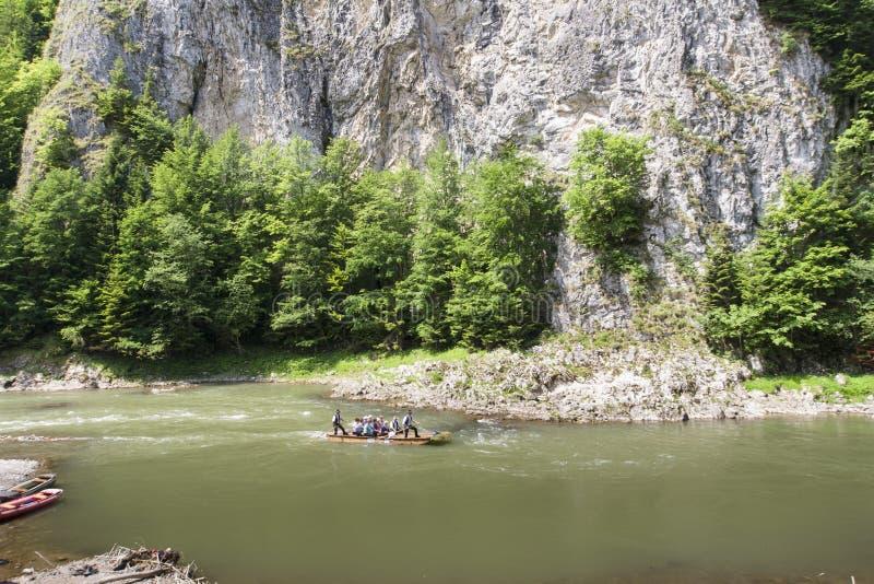 Mountain river. Dunajec River in Pieniny Mountains, at the Polish-Slovakian border royalty free stock photography