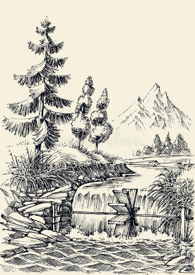 Mountain river flow landscape stock illustration