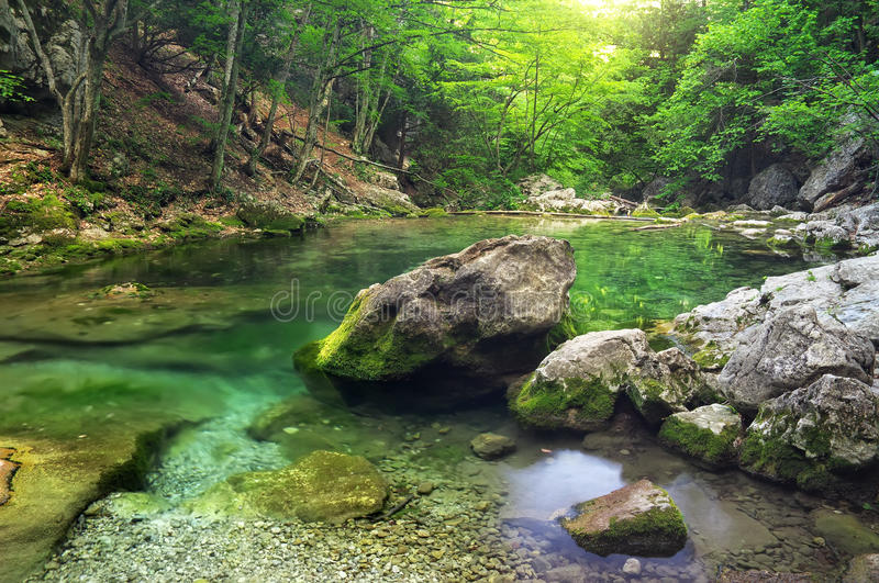Download Mountain River In Forest And Mountain Terrain. Stock Photo - Image: 39037480