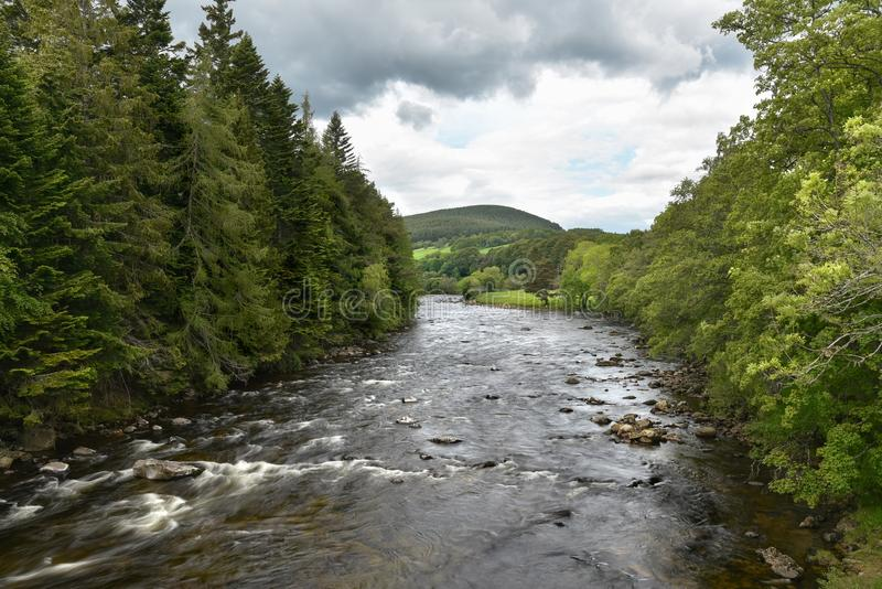 Mountain river through a forested valley and cloudy sky royalty free stock photography