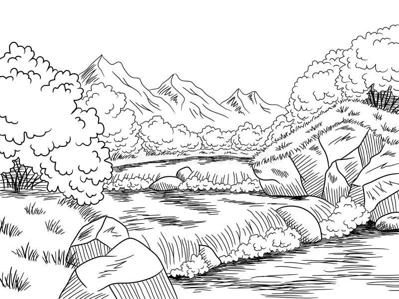 Mountain River Graphic Black White Landscape Sketch ...