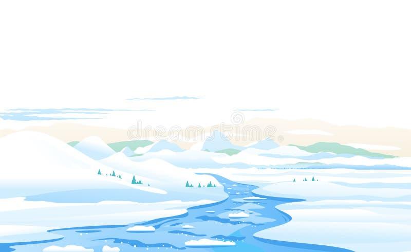 Mountain river ice melting spring landscape stock illustration