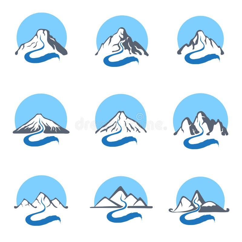 Mountain river logo set, vector icon illustration. royalty free illustration