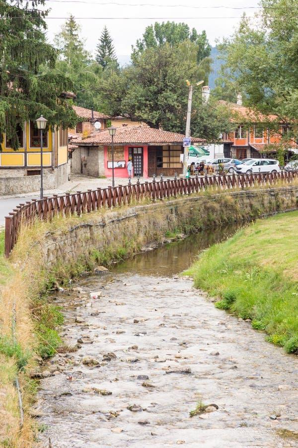 Mountain river in old Koprivshtitsa, Bulgaria royalty free stock photos