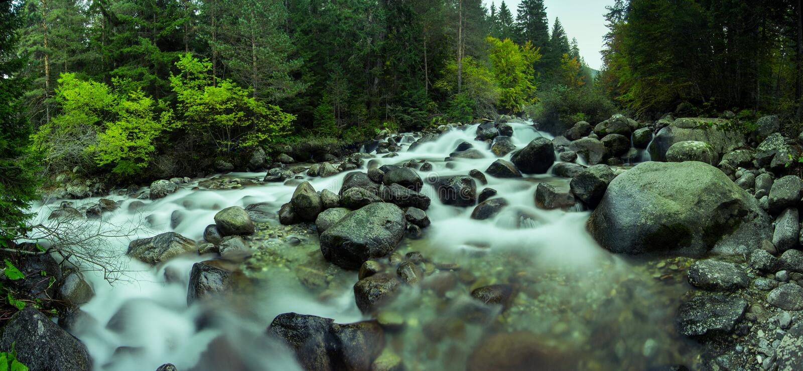 Mountain River Panorama royalty free stock images
