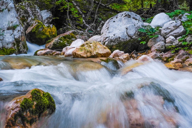 Mountain river in Slovenia royalty free stock photography