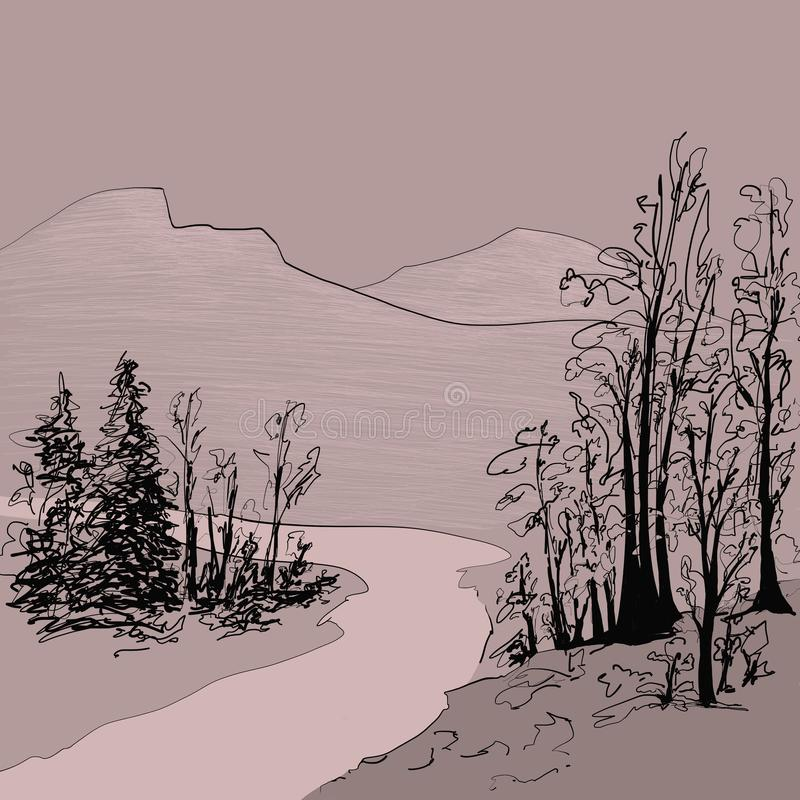 Mountain river among the trees, illustration, scetch stock illustration