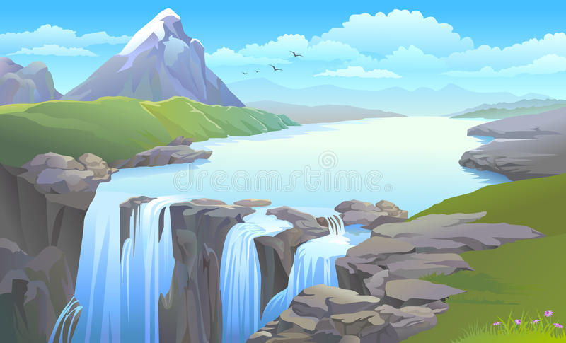 Mountain river turning into a waterfall stock illustration