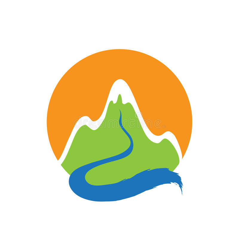 Mountain and river, vector logo royalty free illustration