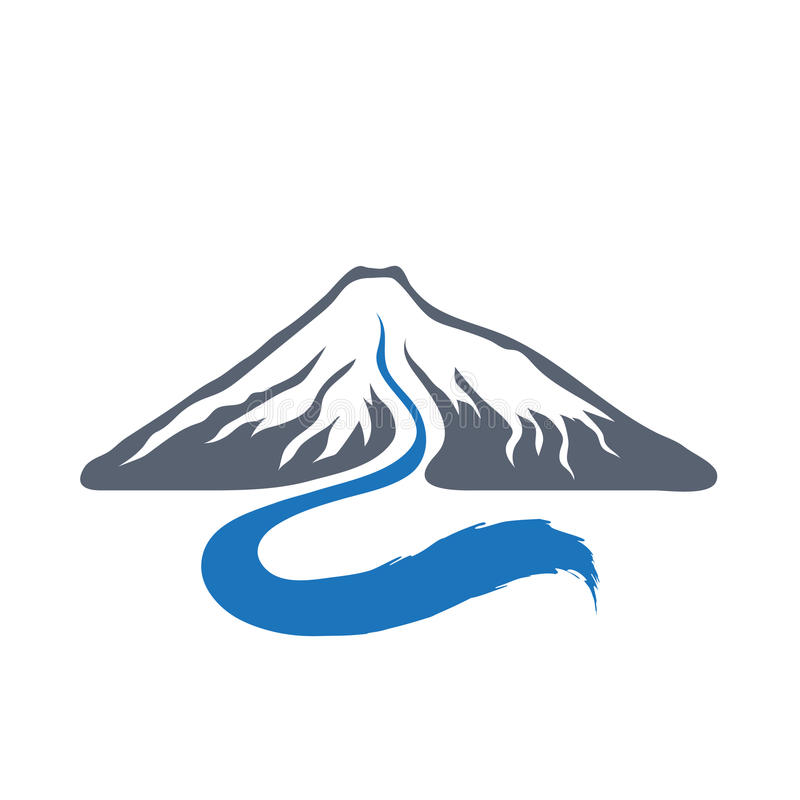 Mountain river, vector logo illustration. stock illustration
