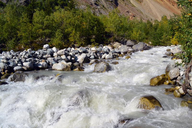 Mountain river on the way to Chalaadi glacier royalty free stock image