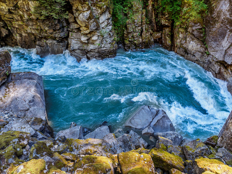 Mountain river with wild rapids royalty free stock image