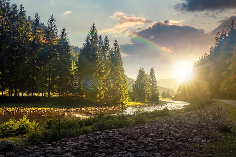 Mountain river winding through forest at sunset royalty free stock image
