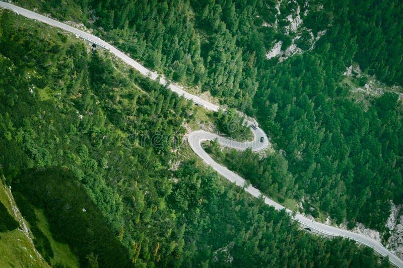 Mountain road aerial view royalty free stock photos