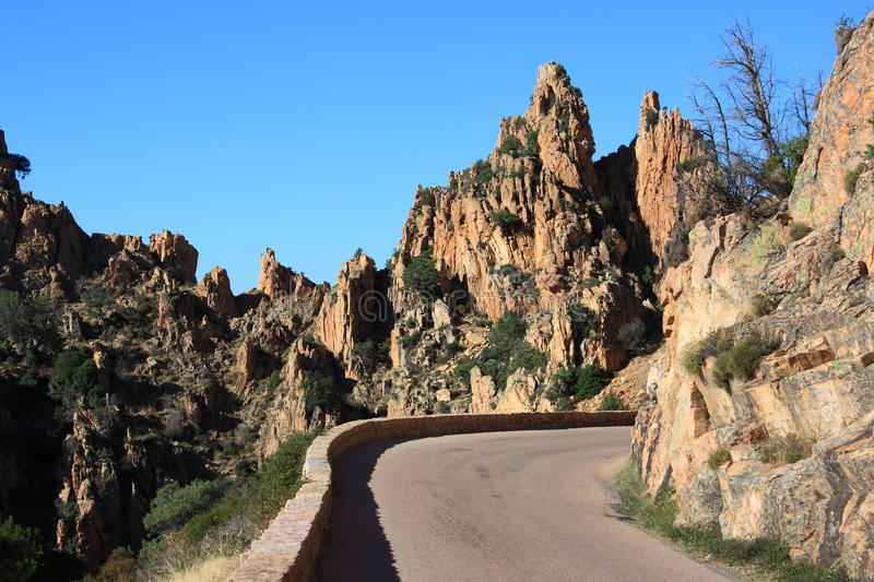 Mountain road in the Calanches, Corsica stock images