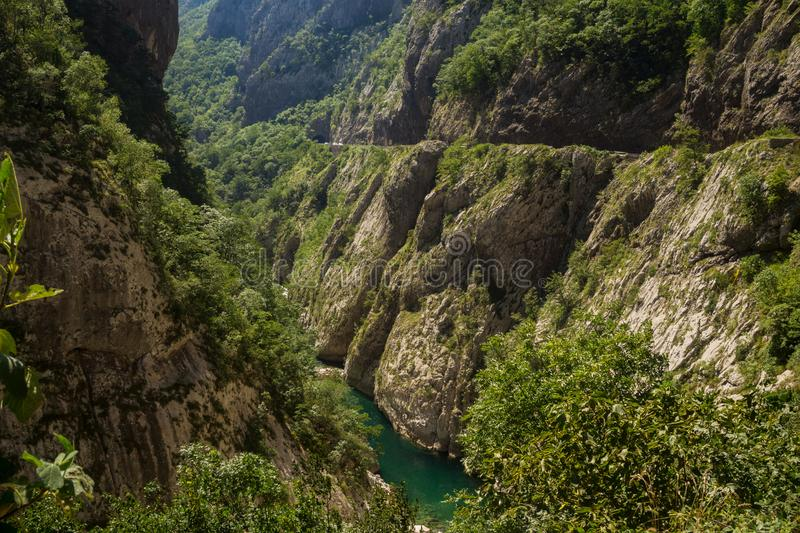 Mountain road in the canyon of the river Tara, Montenegro stock photo
