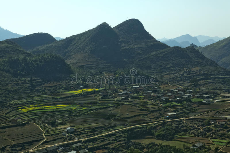 Mountain, road and cloud, blue sky at Lung Cu. In Van stone. Van Stone Plateau (natural or painted Van) is a rocky plateau spread over four districts of Quan Ba royalty free stock photography