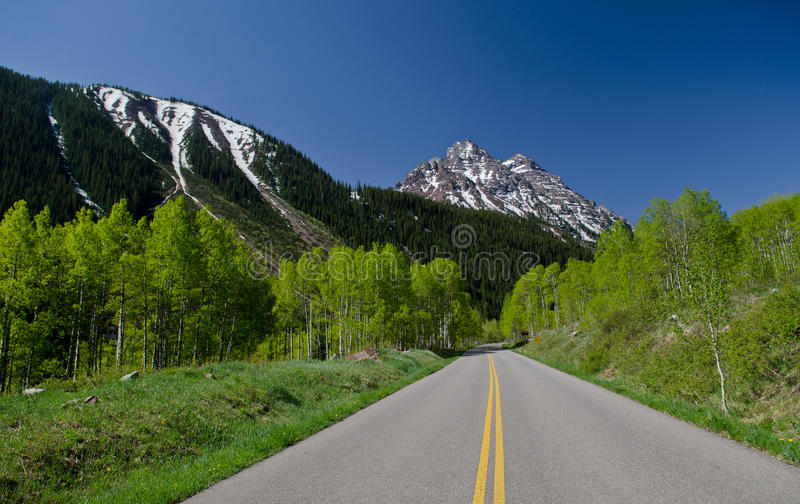 Mountain road in Colorado royalty free stock photo