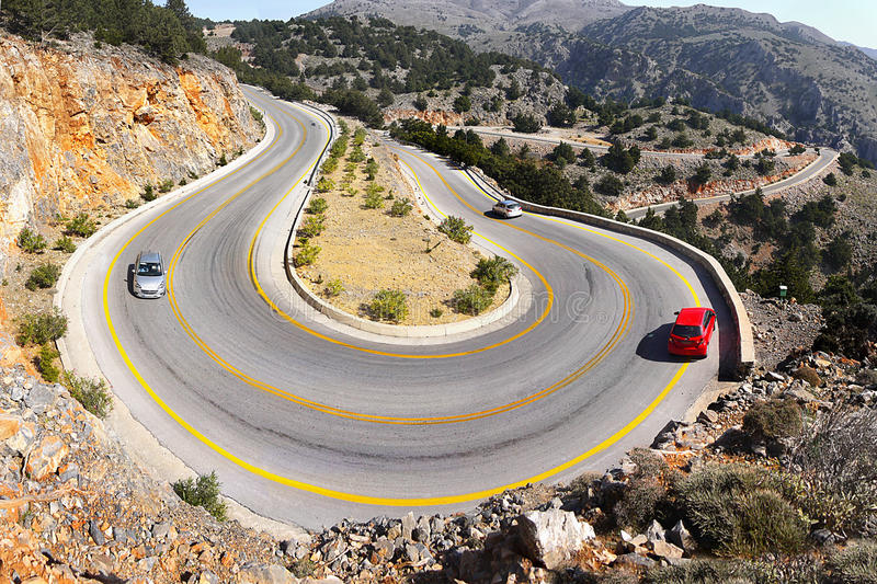 Mountain Road Dangerous Hairpins Bends royalty free stock photos