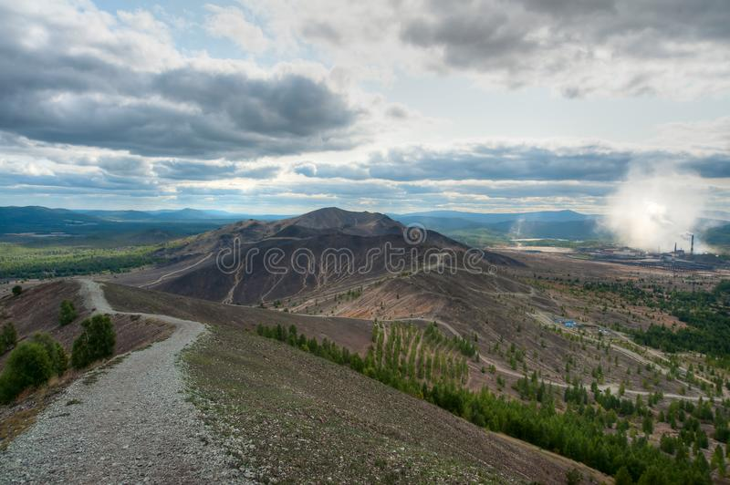 Mountain road to Karabash. Mountain road, descent from the Pious Cross, Karabash stock images