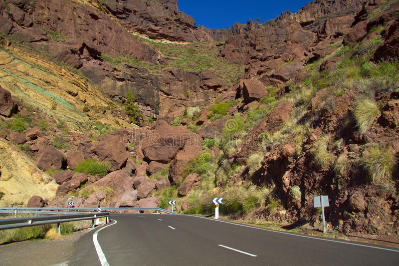 Mountain road on the Gran-Canaria royalty free stock image