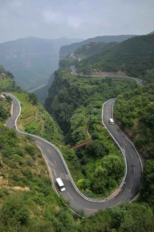 Mountain road in Grand Taihang Canyon. royalty free stock photography