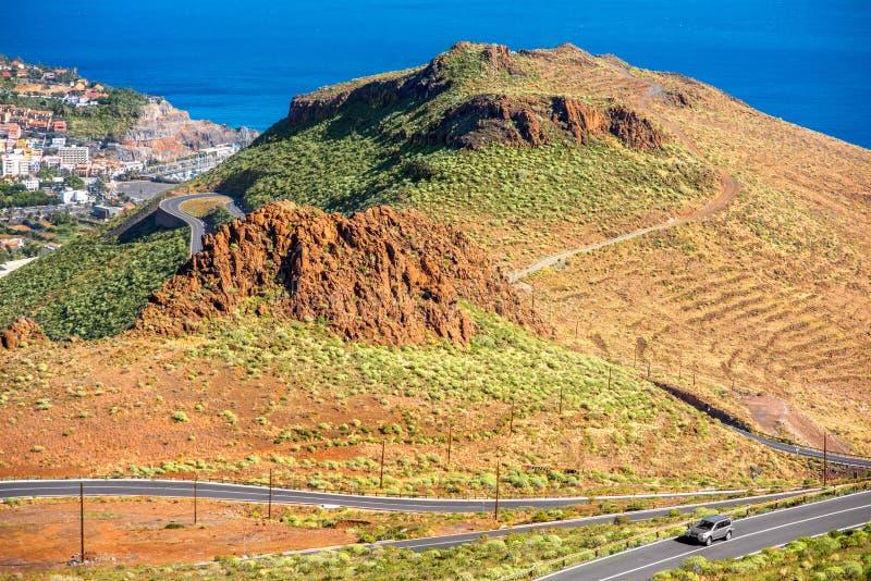 Mountain road near San Sebastian city on La Gomera island. Top view on mountain road near San Sebastian city on La Gomera island royalty free stock photo