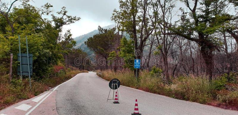Mountain road repair stock images