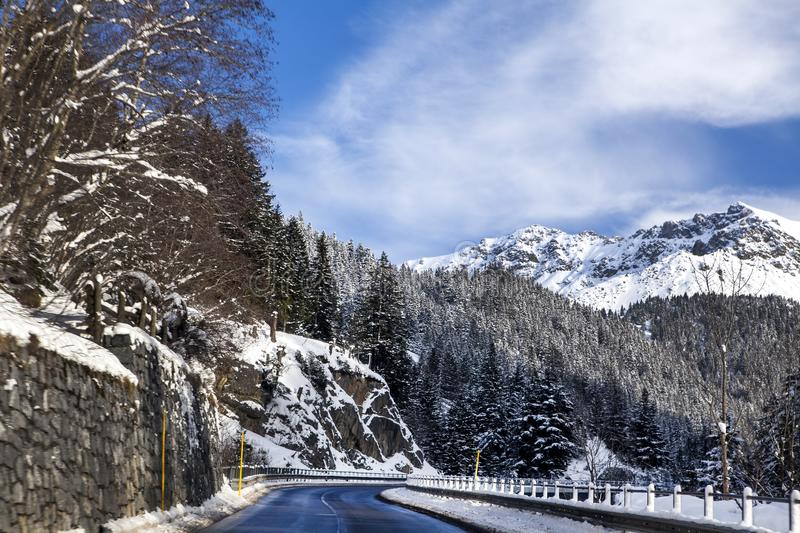 Mountain road, rocks m forest in the snow in the Alps on a Sunny winter day stock image