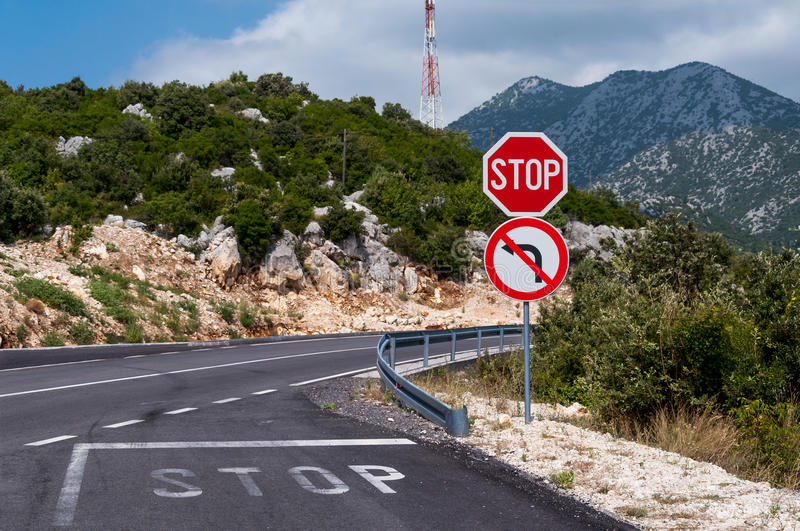 Mountain road, stop sign. Adriatic coastline mountain road view, stop sign, Croatia royalty free stock photography
