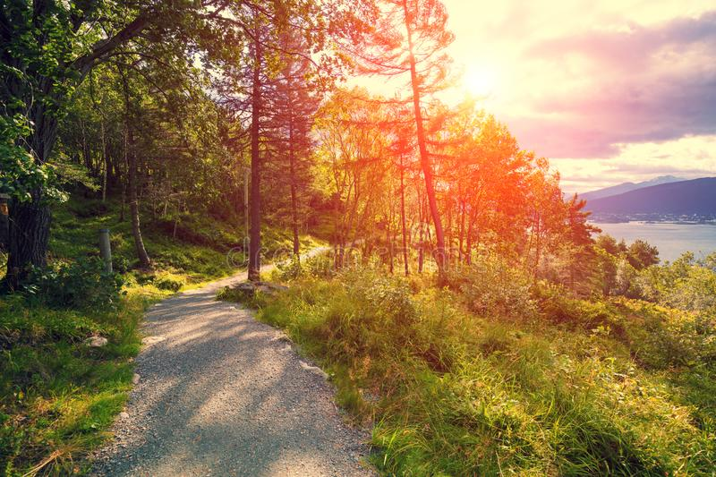 Mountain road at sunset on Aksla mount. Beautiful nature of Norway stock images