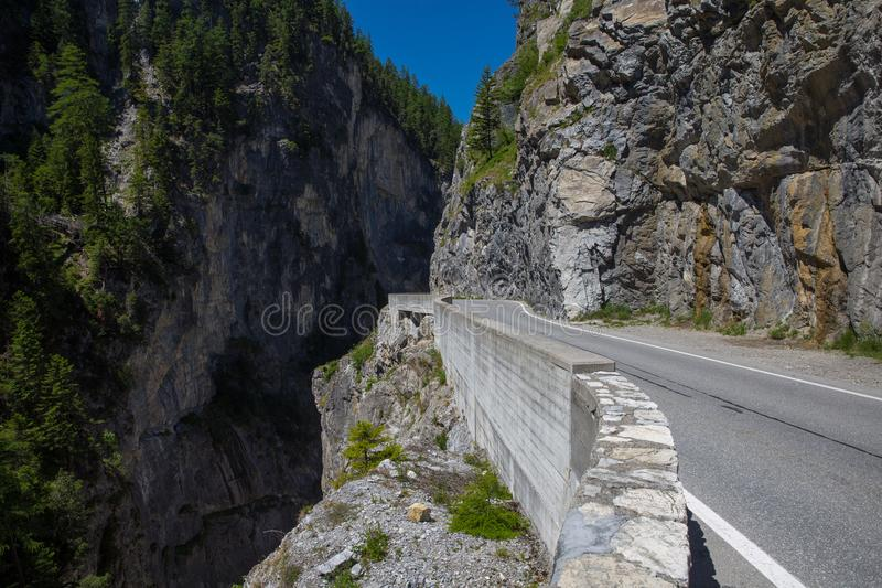 Mountain road in Switzerland stock image