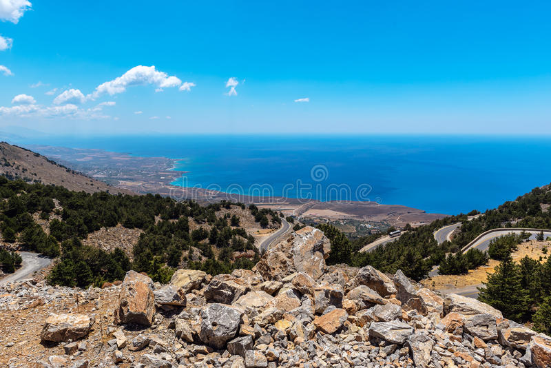Mountain road to Chora Sfakion town at southern part of Crete island, Greece.  royalty free stock images