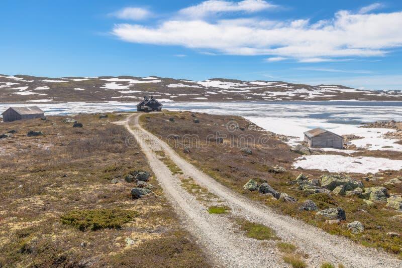 Mountain road. To the lake. Geilo in Hardangervidda Plateau. Norway Europe stock photo