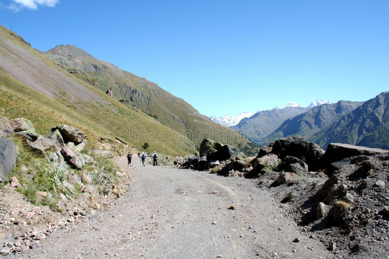 Mountain road. Tracking to Prielbrusye, the Caucasus, Russia stock images