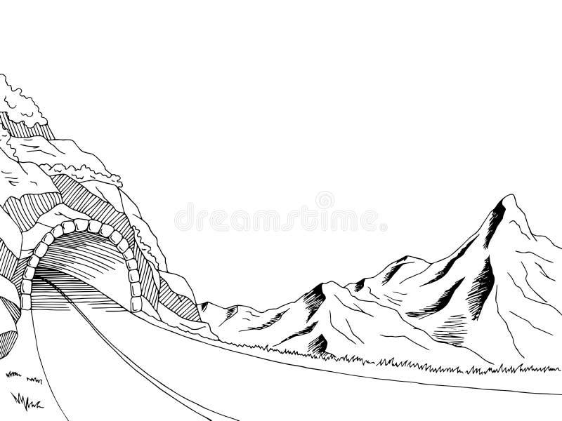 mountain road tunnel graphic art black white landscape