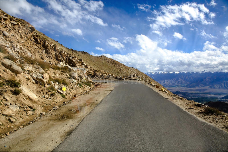 Mountain roads with blue sky Landscape and scenery in Leh, Ladakh, India stock images