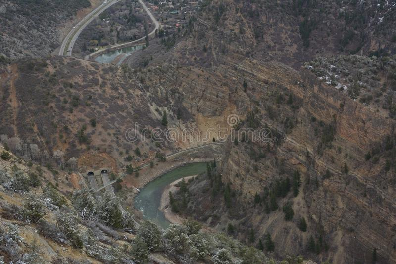 Mountain roads and rivers in Colorado stock photography