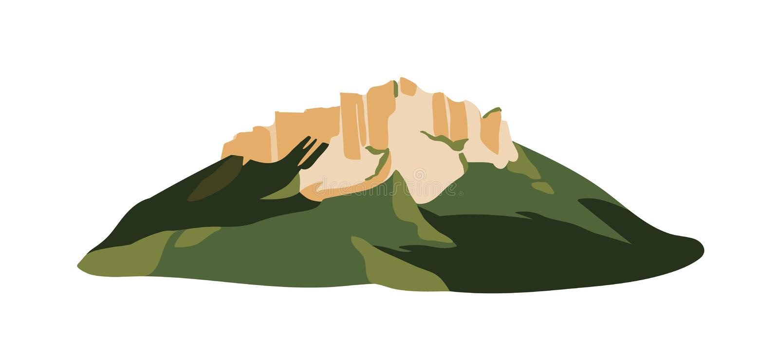 Mountain with rock formation on top of it isolated on white background. Rocky cliff or mount for adventure tourism and vector illustration