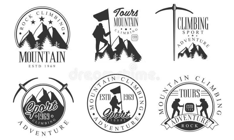 Mountain Rock Limping Retro Logo集、Rock Sport Adventure Monochre Badges矢量图 向量例证