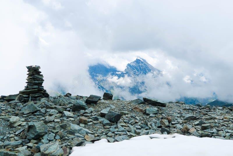 Mountain rocks cairn scenic view. Kara-Tyurek mountain pass. Altai Mountains, Russia. Mountain rocks cairn scenic view. Kara-Tyurek mountain pass. Altai royalty free stock photography