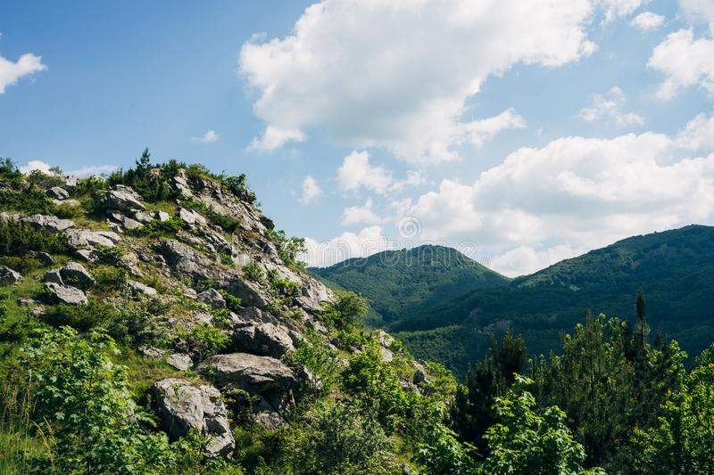 Mountain rocks with great blues sky in the background royalty free stock photos