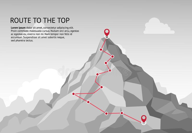 Mountain route infographic. Journey challenge path business goal career growth success climbing mission. Mountains path. Steps vector concept stock illustration