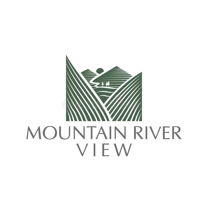 Mountain River view logo. a simple modern and luxury logo vector illustration