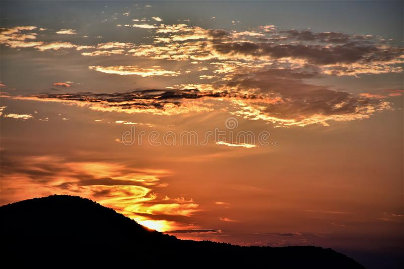 Mountain Ruin Silhouette during Golden Hour royalty free stock images