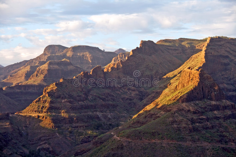 Mountain scenery. Gran Canarian mountains late in the afternoon with cloudy sky stock photo