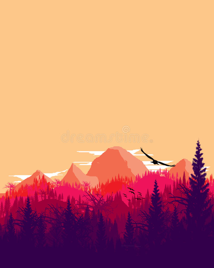 Mountain Scenery with Gradation royalty free stock image
